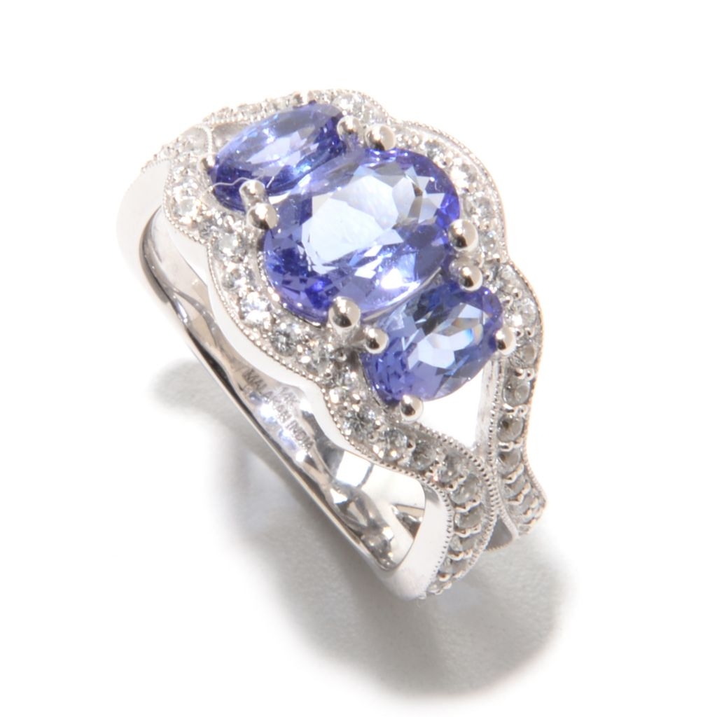 140-243 - Gem Treasures 14K White Gold 2.94ctw Tanzanite & White Zircon Wavy Shank Ring