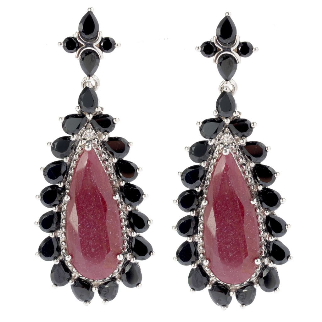 "140-246 - Gem Treasures Sterling Silver 1.75"" Madurai Ruby & Black Spinel Teardrop Earrings"