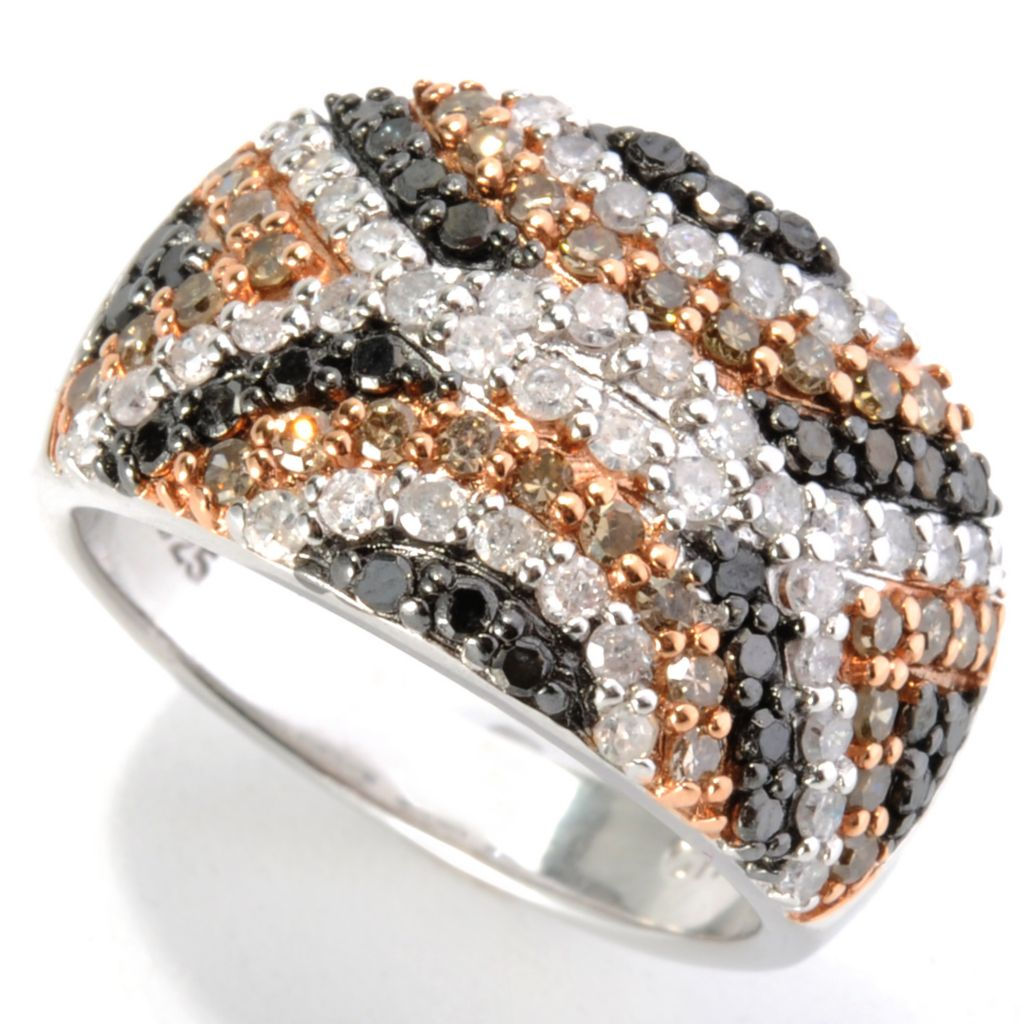 "140-247 - ""As Is"" Diamond Treasures Sterling Silver 1.25ctw Multi Color Diamond Geo Pattern Ring - Size 9"