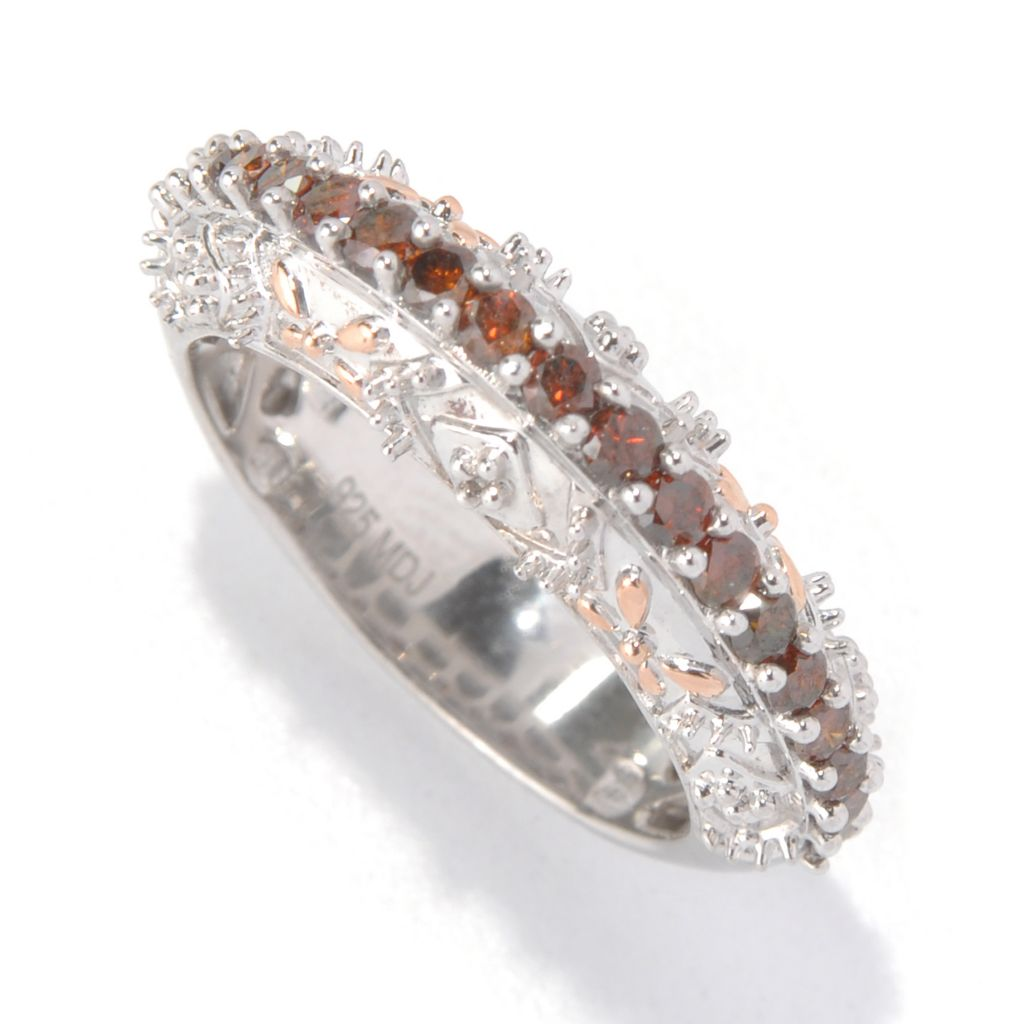 "140-248 - ""As Is"" Diamond Treasures Sterling Silver 0.50ctw Red Diamond Elevated Ring - Size 9"