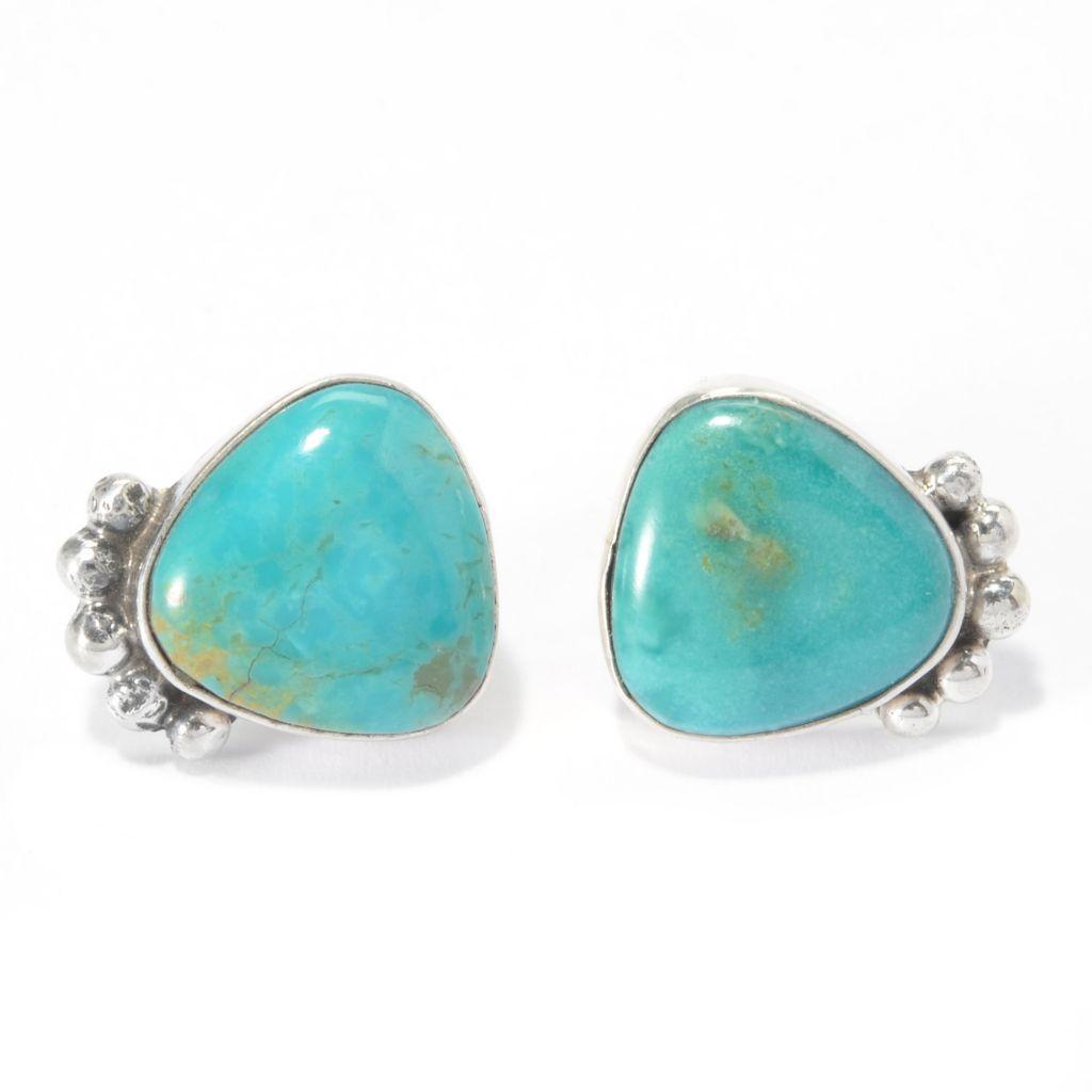 140-254 - Dine Spirit Sterling Silver 12mm Kingman Turquoise Handmade Stud Earrings