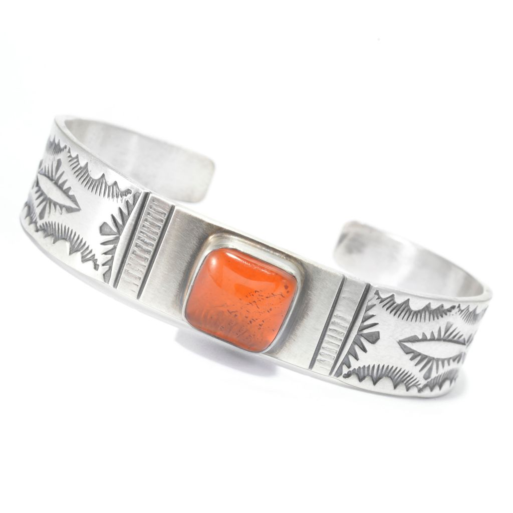 140-258 - Gem Insider Sterling Silver 10mm Amber Handmade Cuff Bracelet