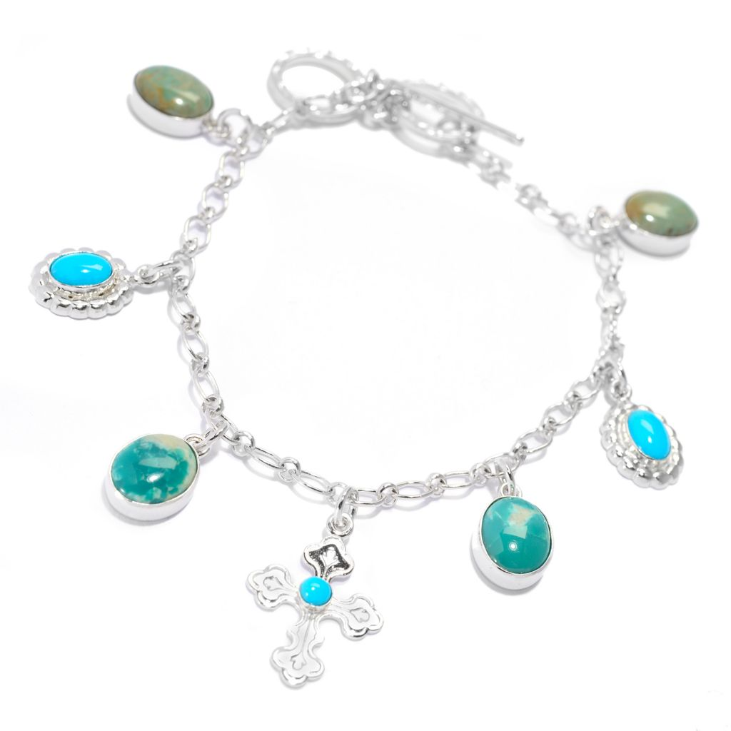 "140-264 - Gem Insider Sterling Silver 8"" Sleeping Beauty, Kingman & Fox Turquoise Bracelet"