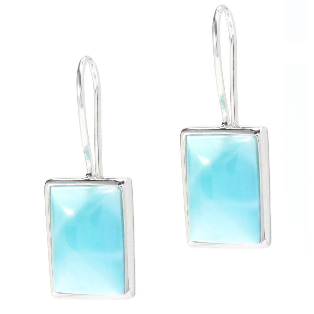 140-266 - Gem Insider Sterling Silver 1'' 12 x 8mm Rectangle Larimar Drop Earrings