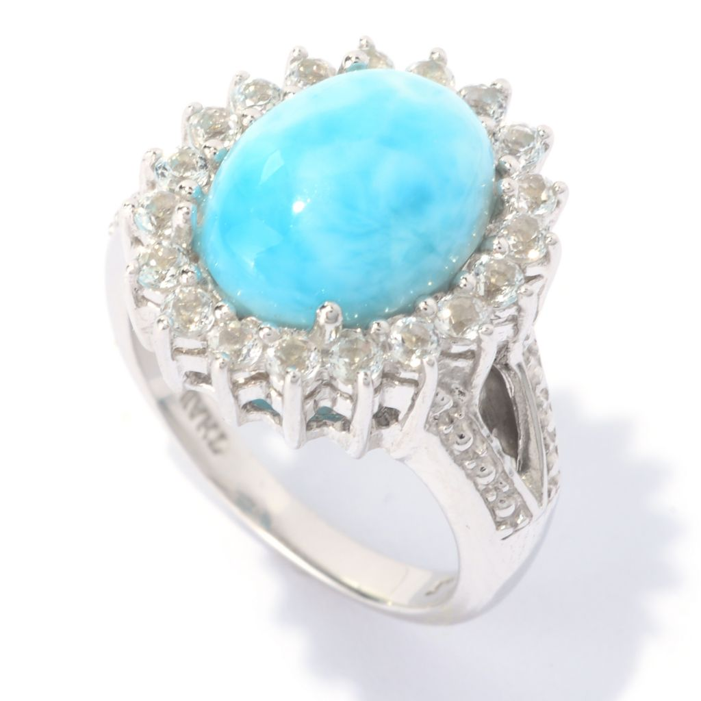 140-267 - Gem Insider Sterling Silver 12 x 10mm Larimar & White Topaz Halo Ring
