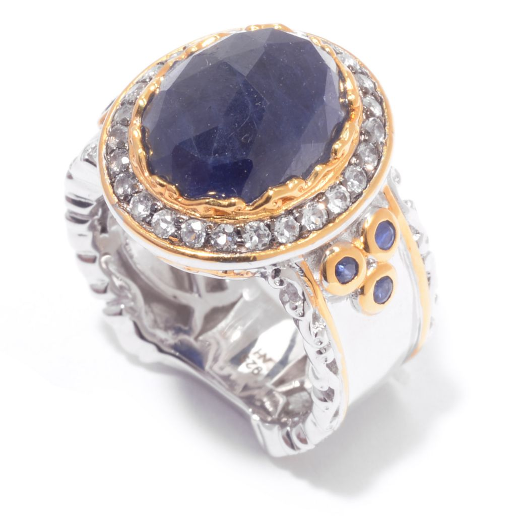 140-272 - Gems en Vogue 12 x 10mm Rose Cut Sapphire & White Topaz Halo Ring