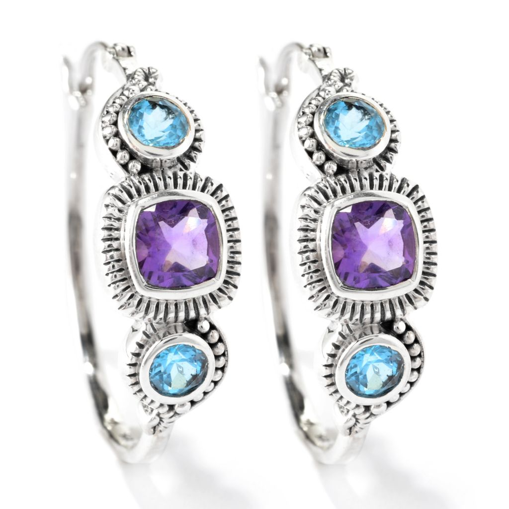"140-273 - Artisan Silver by Samuel B. 1.25"" Cushion Cut & Round Gemstone Hoop Earrings"