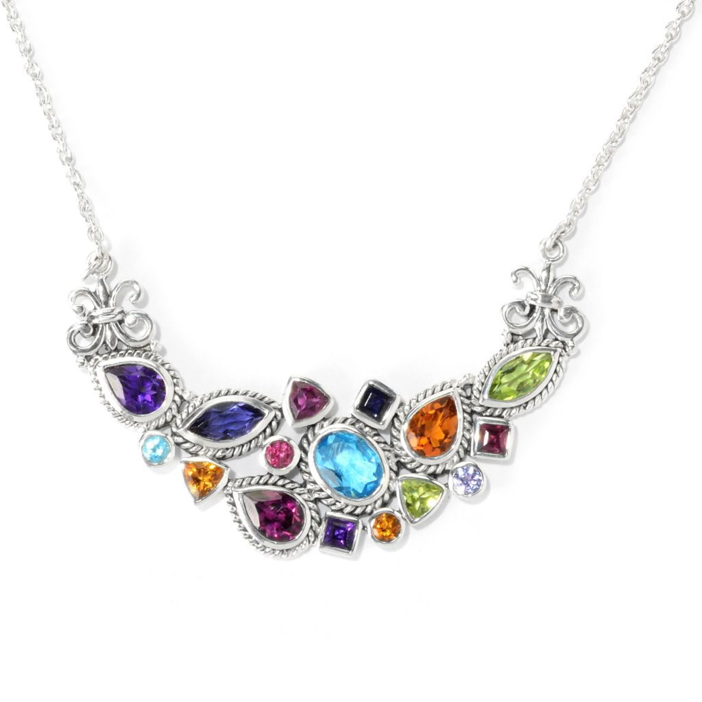 "140-274 - Artisan Silver by Samuel B. 18"" 6.14ctw Multi Gem Fleur-de-lis Necklace"