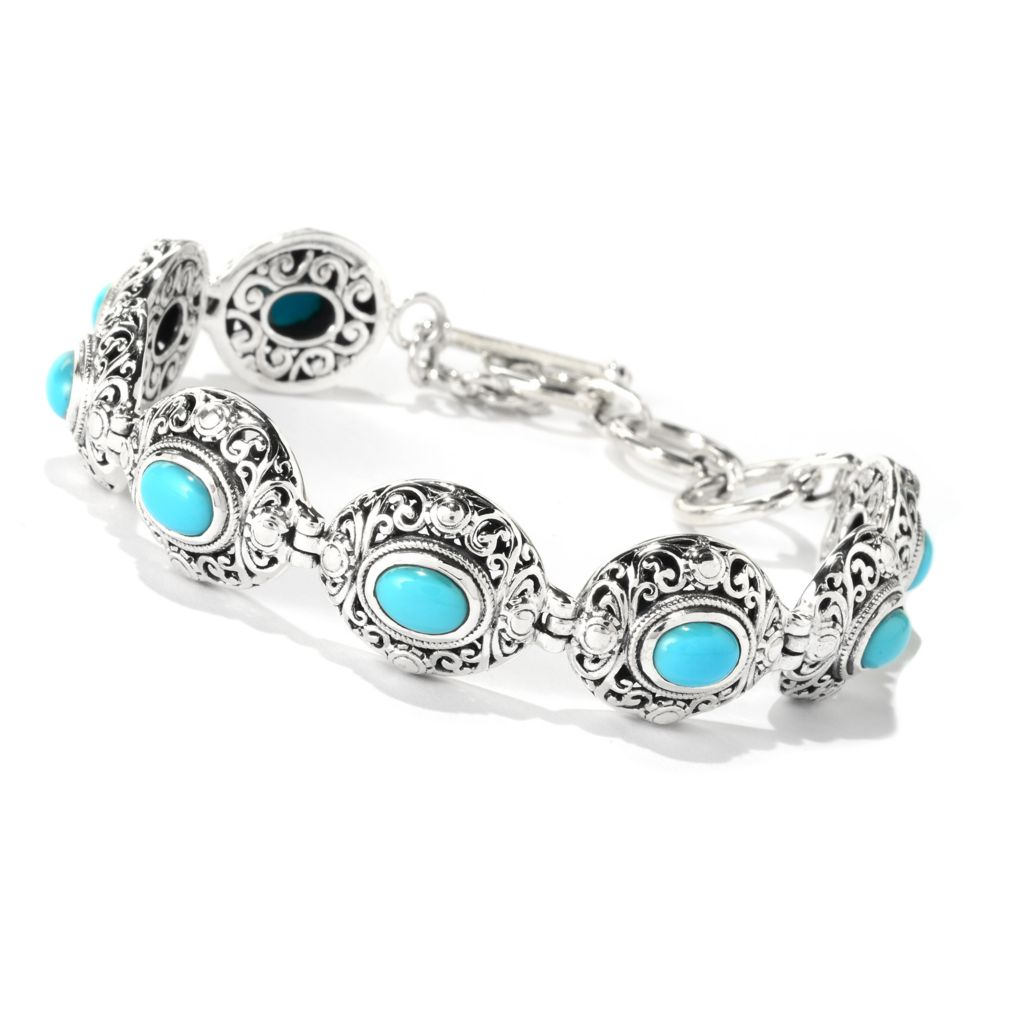 "140-276 - Artisan Silver by Samuel B. 7.25"" Sleeping Beauty Turquoise Openwork Toggle Bracelet"