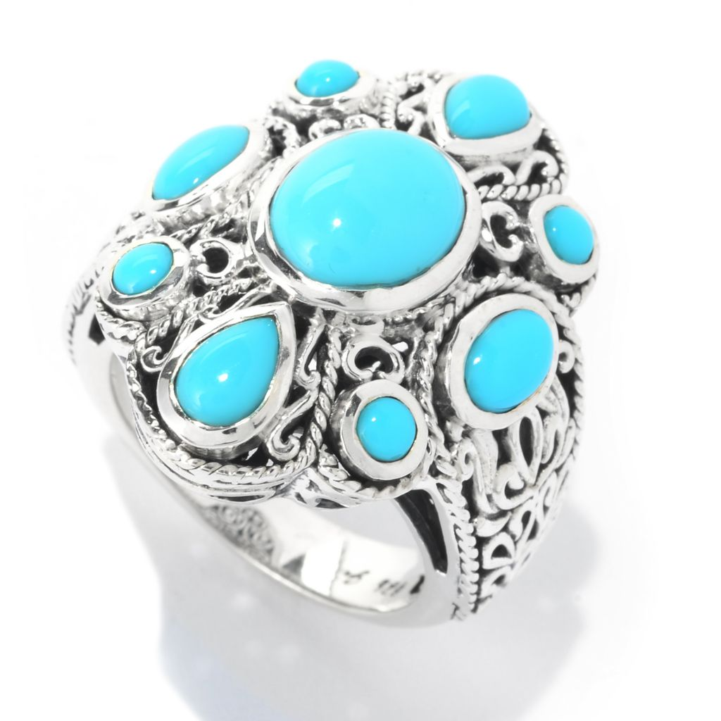 140-277 - Artisan Silver by Samuel B. Sleeping Beauty Turquoise Textured Openwork Ring