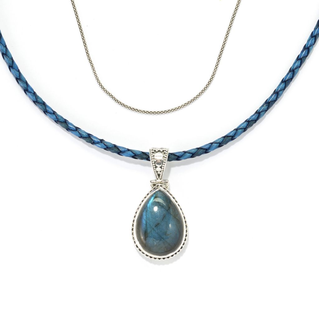 140-278 - Artisan Silver by Samuel B. Orchid Labradorite Pendant w/ Chain & Leather Cord