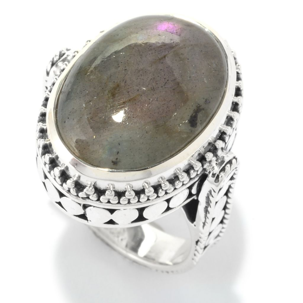 140-279 - Artisan Silver by Samuel B. 18 x 13mm Oval Orchid Labradorite Textured Ring