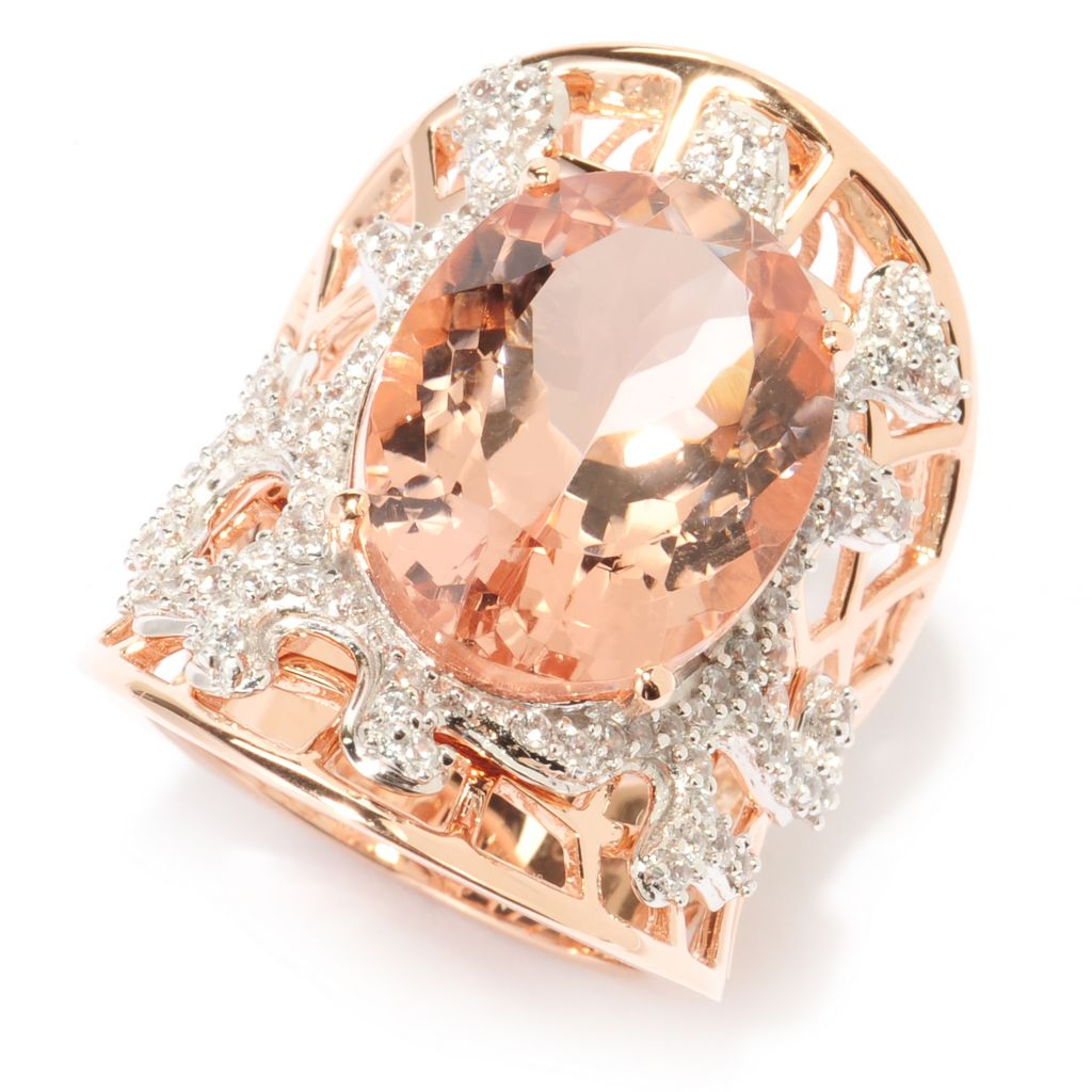 140-282 - Gem Treasures 14K Rose Gold 12.76ctw Morganite & White Zircon Elongated Ring