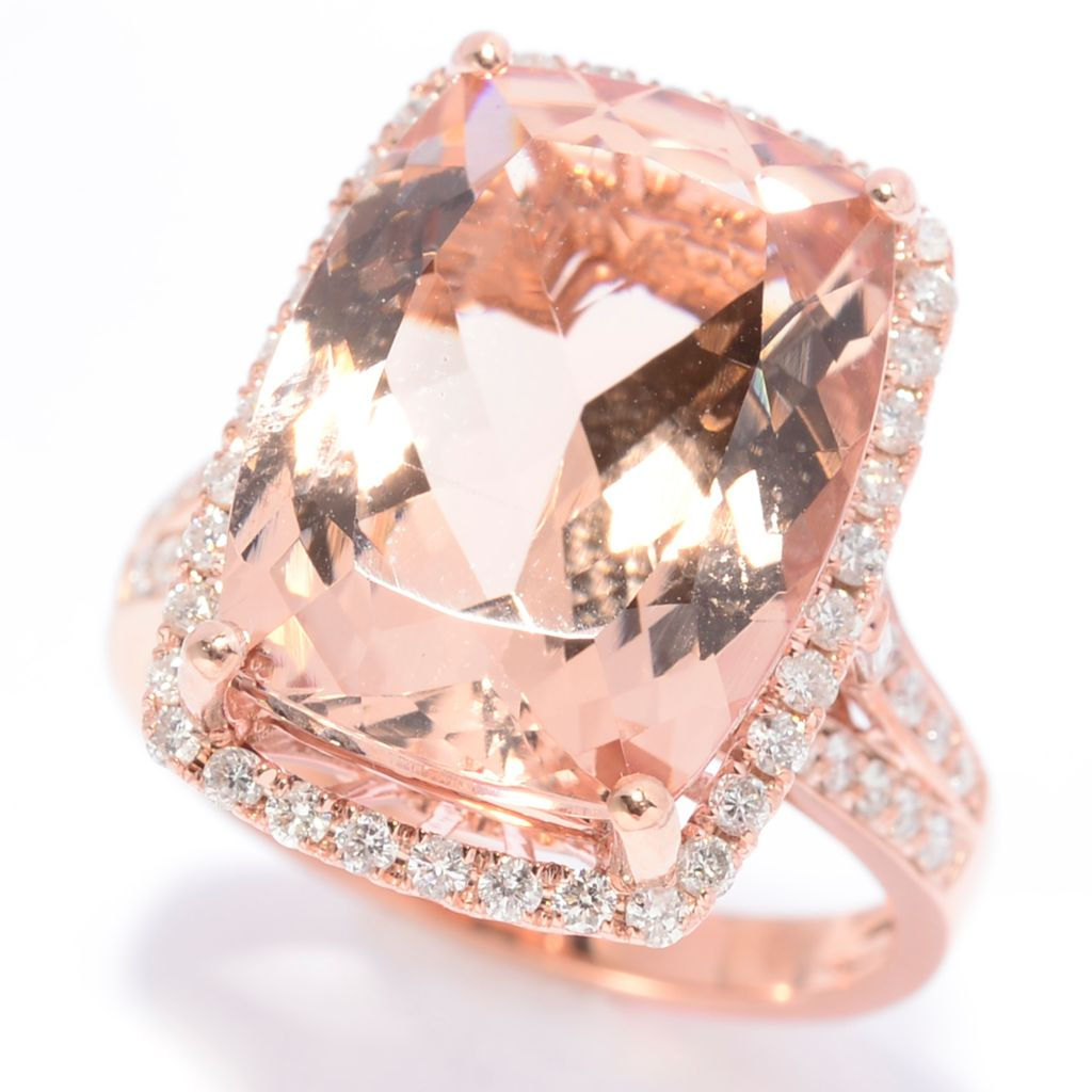 140-284 - Gem Treasures 14K Rose Gold 10.49ctw Morganite & Diamond Halo Ring