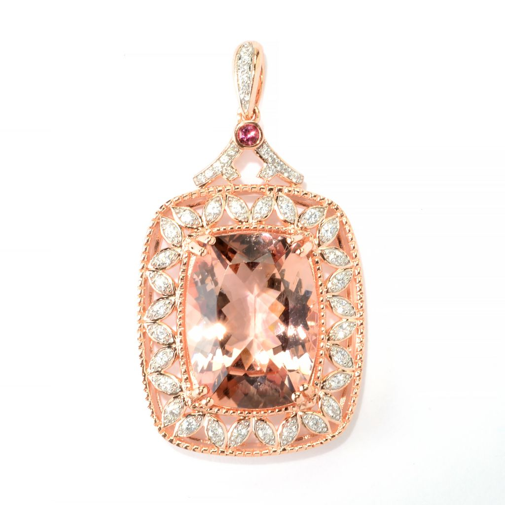 140-285 - Gem Treasures 14K Rose Gold 19.11ctw Morganite & Multi Gem Pendant w/ Chain
