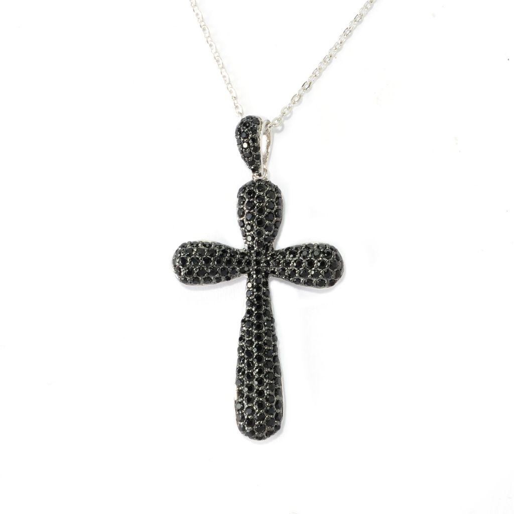 140-287 - Gem Treasures Sterling Silver 2.44ctw Black Spinel Cross Pendant w/ Chain