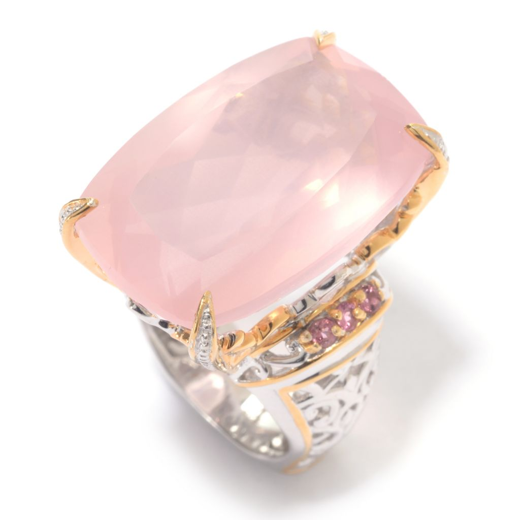 140-292 - Gems en Vogue 25 x 16mm Rose Quartz & Pink Tourmaline Scrollwork Ring