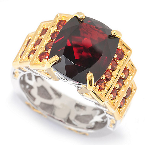 140-294 - Gems en Vogue 7.41ctw Cushion Cut Mozambique Garnet Tiered Ring