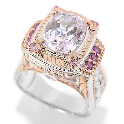 140-295 - Gems en Vogue 3.72ctw Cushion Cut Kunzite, Rhodolite & Pink Sapphire Ring