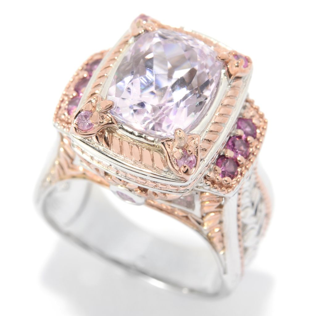 140-295 - Gems en Vogue 3.72ctw Cushion Cut Kunzite, Rhodolite & Pink Sapphire Ring