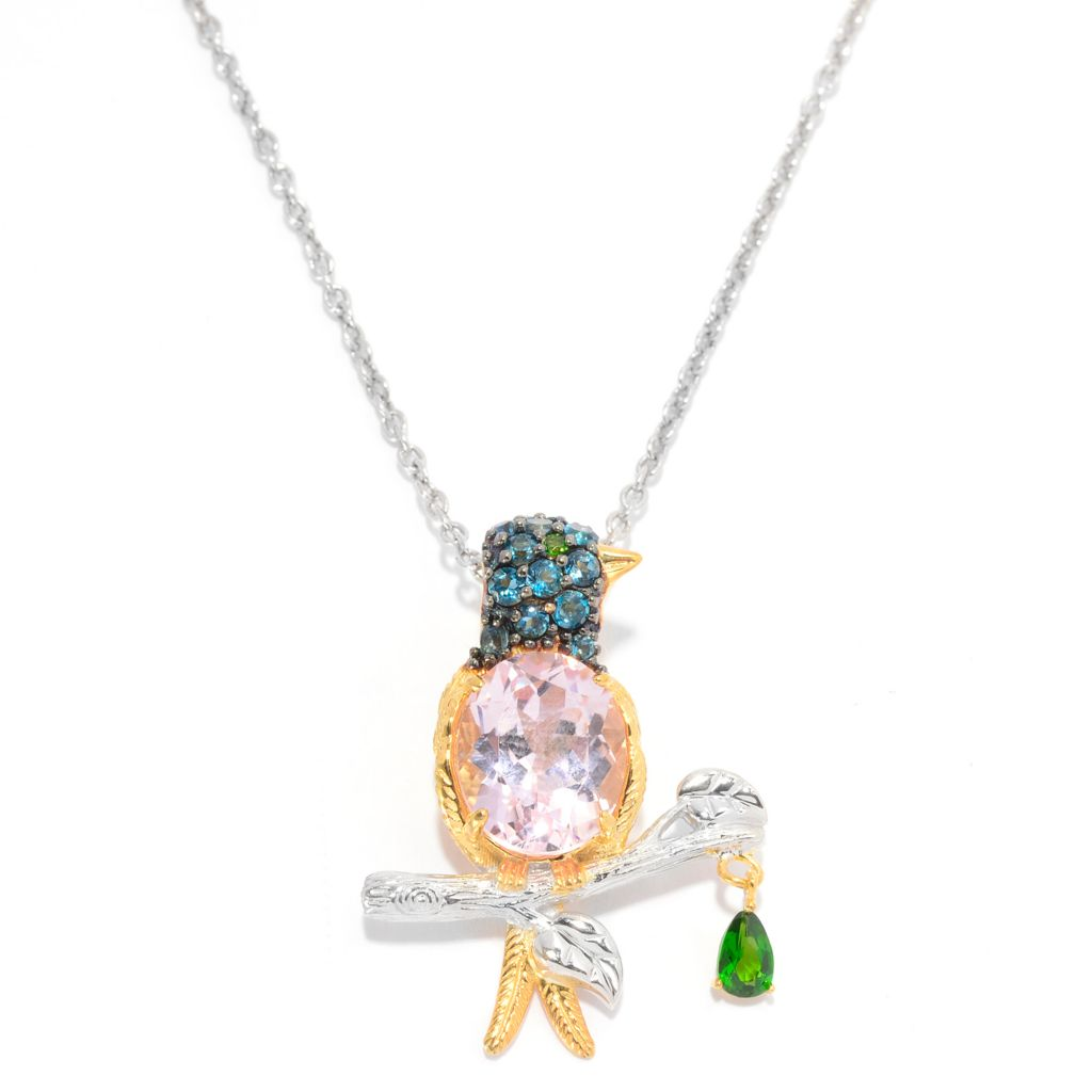 "140-296 - Gems en Vogue 4.81ctw Kunzite & Multi Gemstone Bird Pendant w/ 18"" Chain"