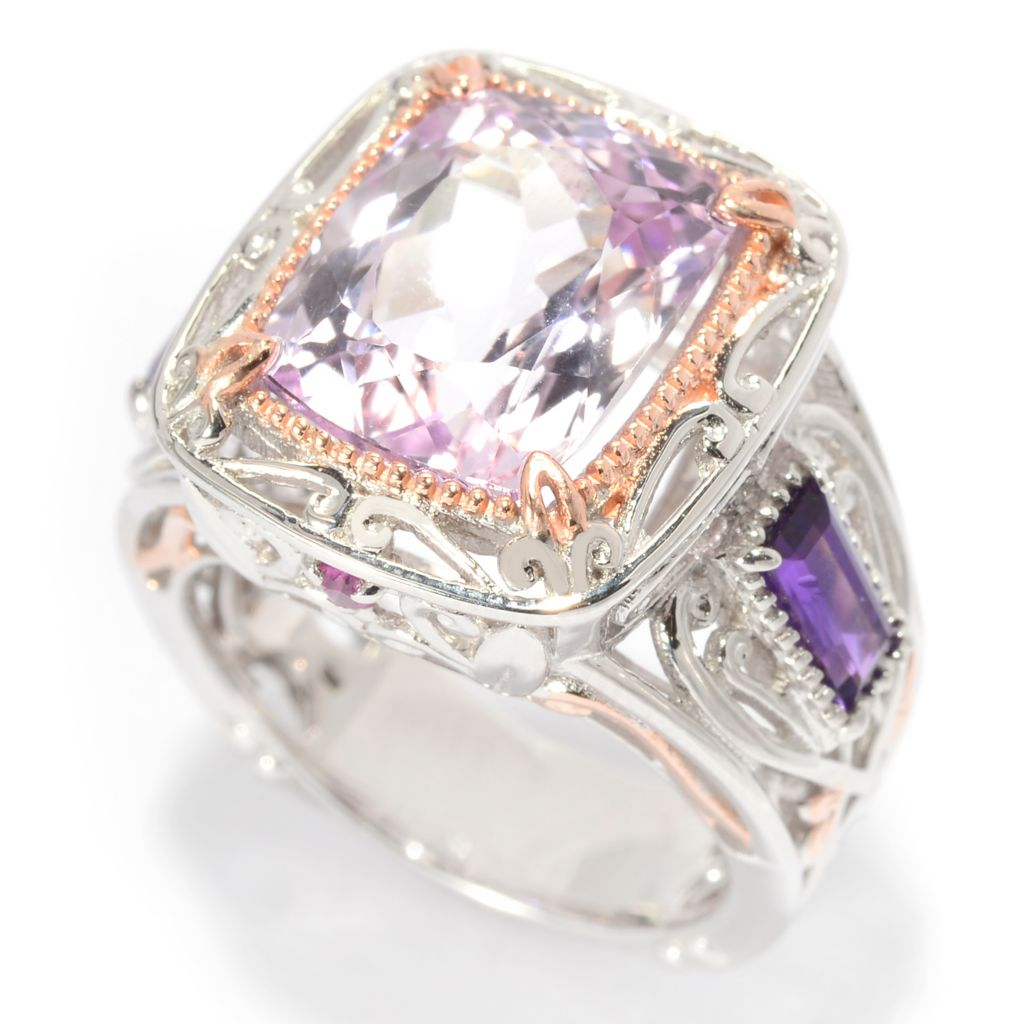 140-297 - Gems en Vogue 8.17ctw Cushion Cut Kunzite, African Amethyst & Pink Sapphire Ring