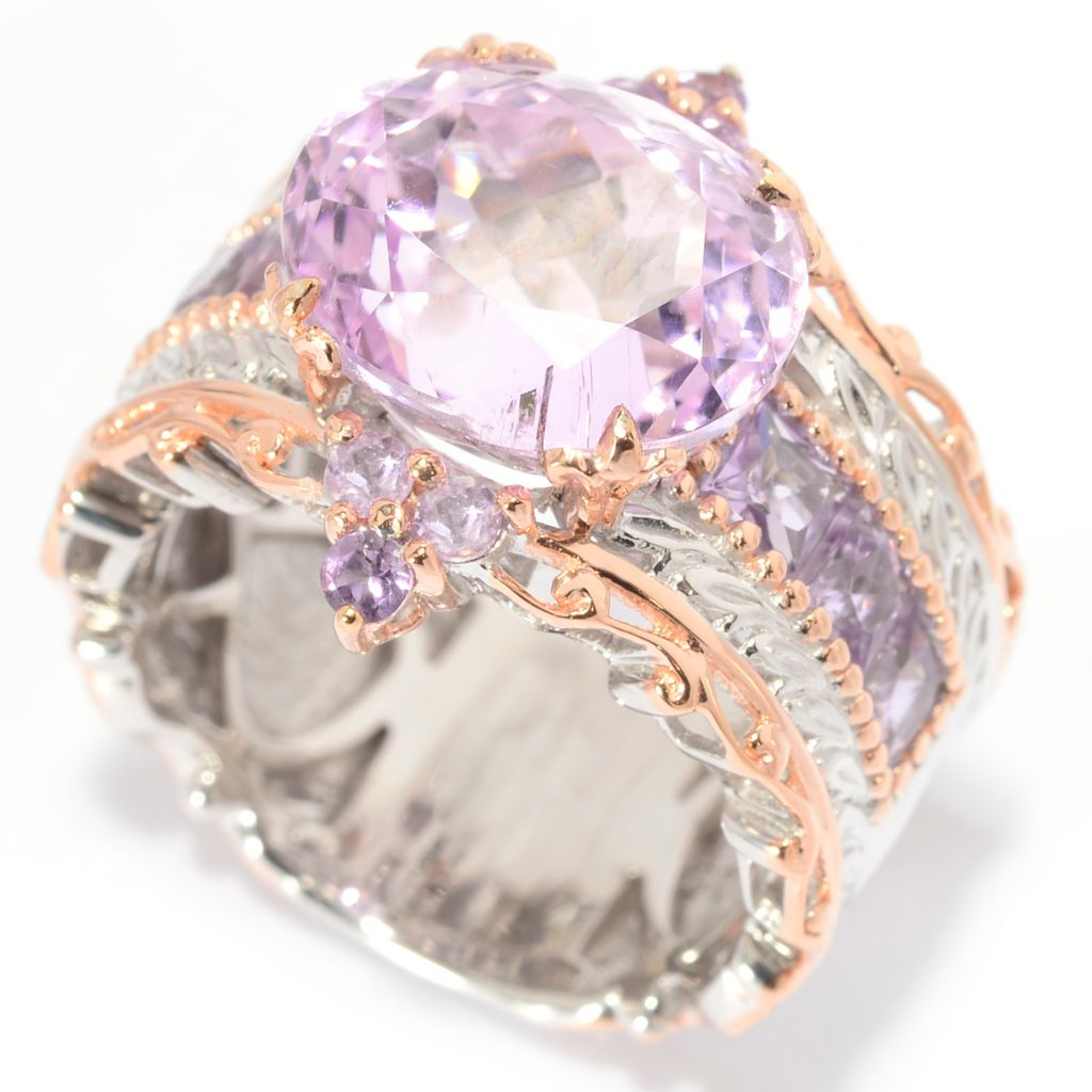 140-299 - Gems en Vogue 6.81ctw Oval Kunzite & Brazilian Amethyst Band Ring