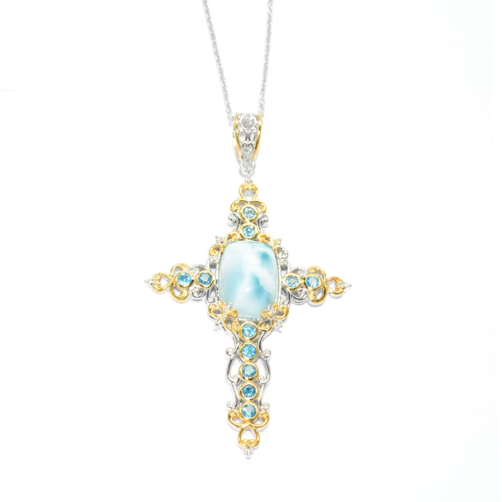 "140-300 - Gems en Vogue 18 x 13mm Larimar & Swiss Blue Topaz Cross Pendant w/ 18"" Chain"