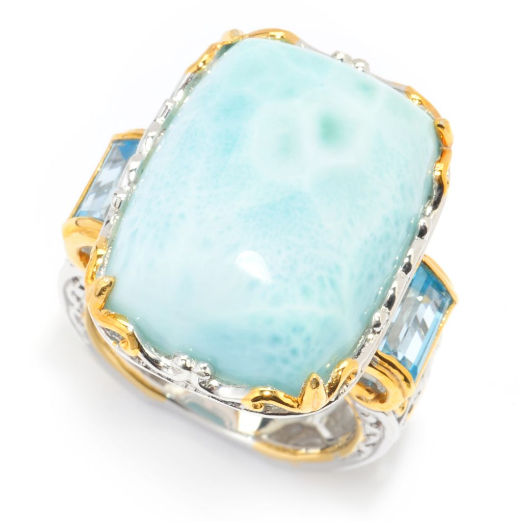 140-301 - Gems en Vogue 20 x 15mm Larimar & Swiss Blue Topaz Baguette Scrollwork Ring