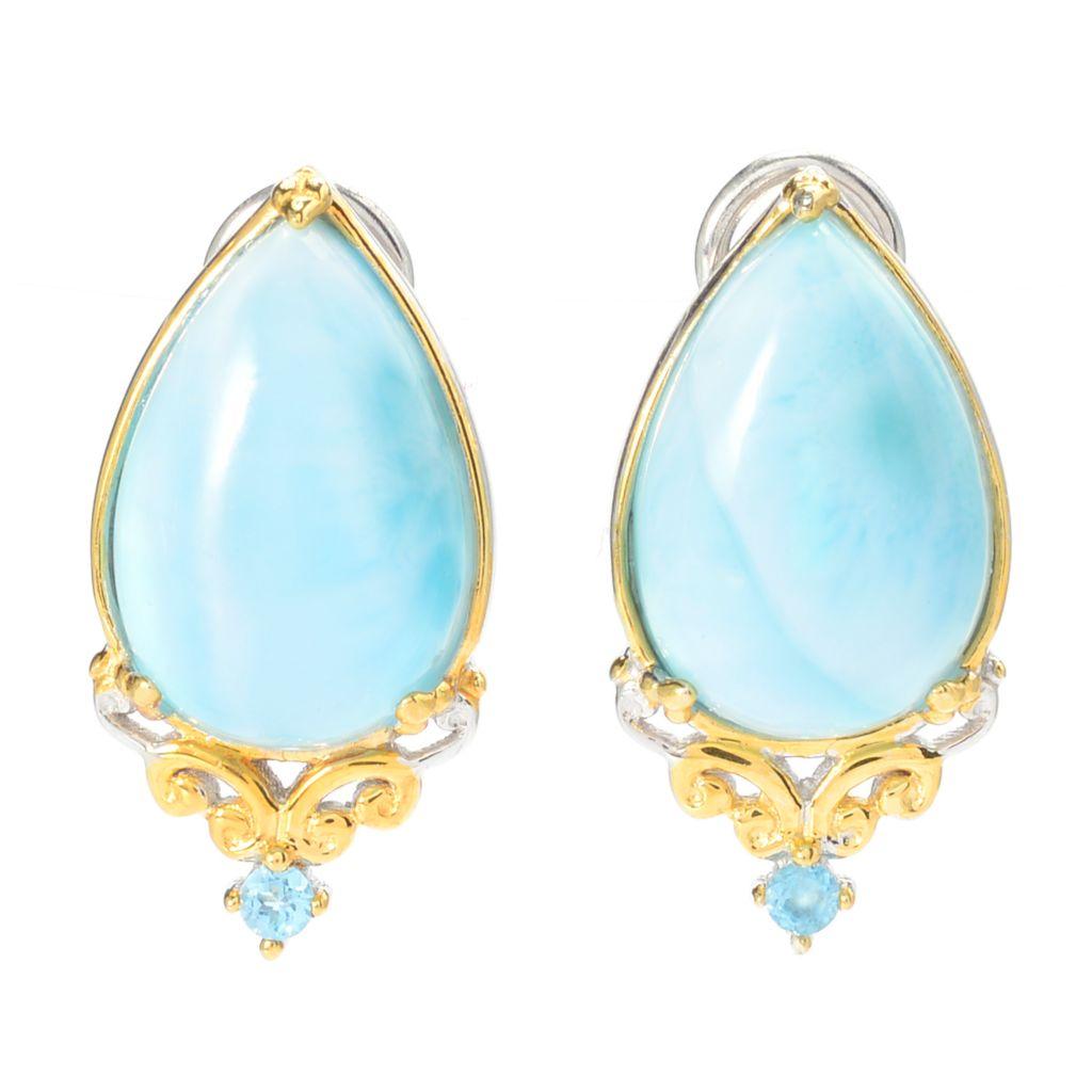 140-302 - Gems en Vogue 15 x 10mm Pear Shaped Larimar & Swiss Blue Topaz Stud Earrings