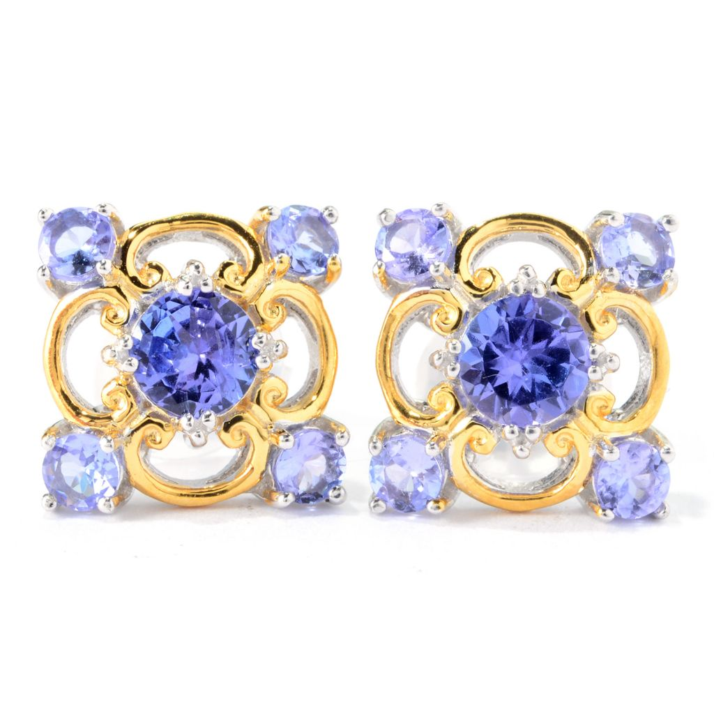 140-306 - Gems en Vogue 2.00ctw Tanzanite Five-Stone Stud Earrings