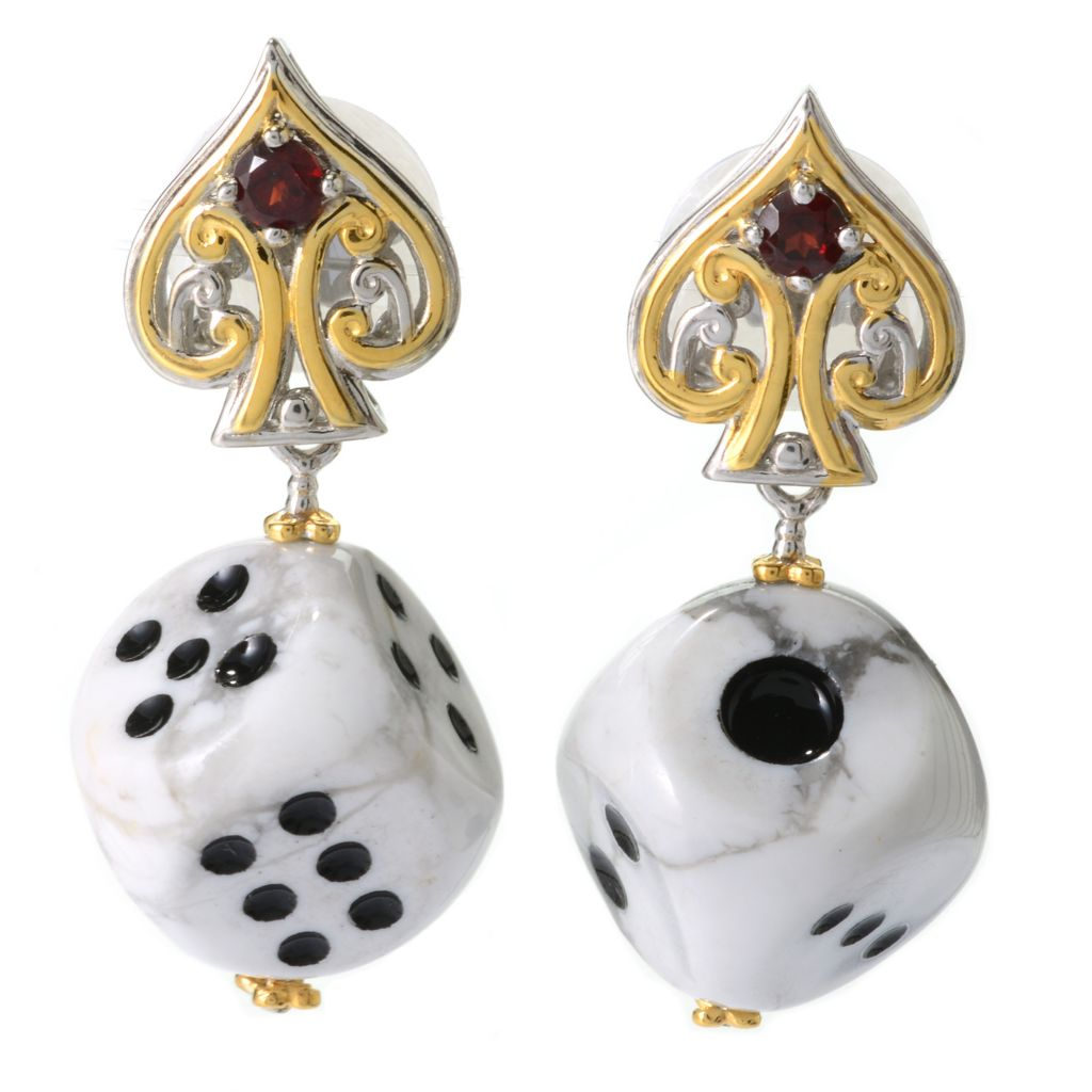 "140-308 - Gems en Vogue 1.25"" Carved Gemstone Dice & Almandine Garnet Drop Earrings"