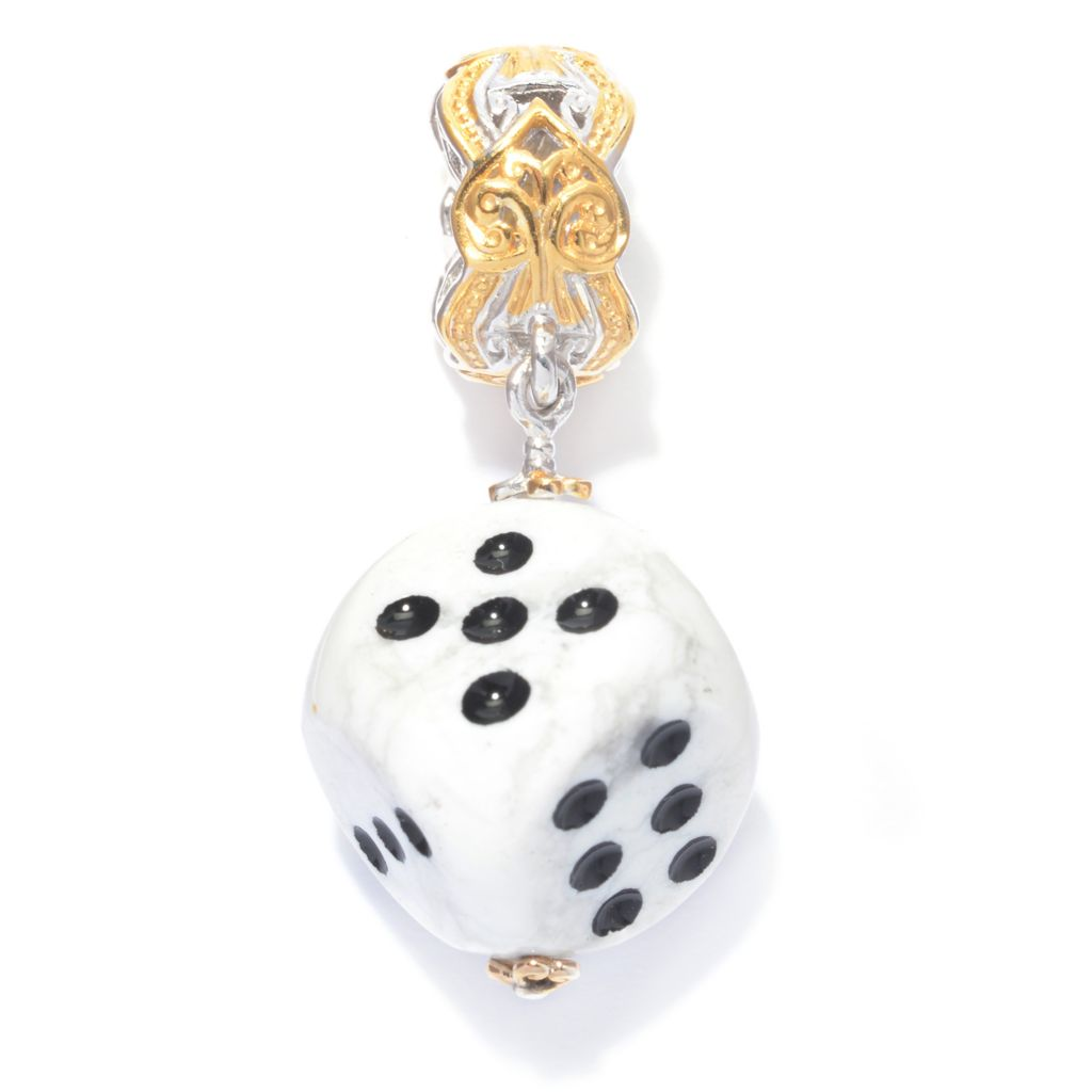 140-309 - Gems en Vogue Carved Gemstone Dice Drop Charm