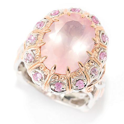 140-310 - Gems en Vogue 14 x 10mm Rose Quartz & Pink Sapphire Halo Ring