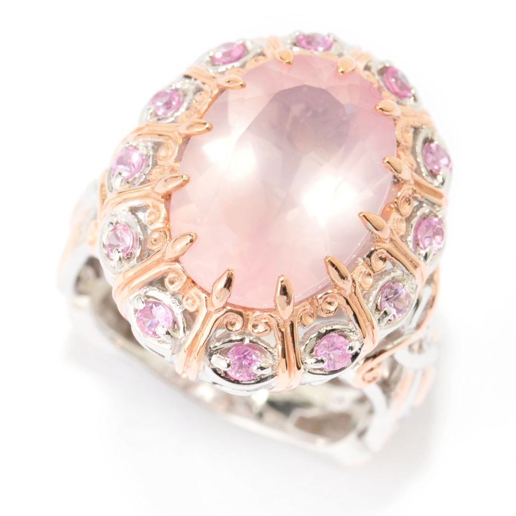 140-310 - Gems en Vogue 14 x 10mm Rose Quartz & Pink Sapphire Halo Ring