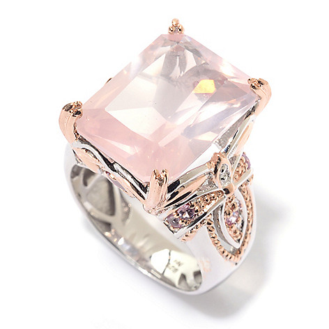 140-312 - Gems en Vogue 16 x 12mm Rose Quartz, Pink Tourmaline & Pink Sapphire Ring