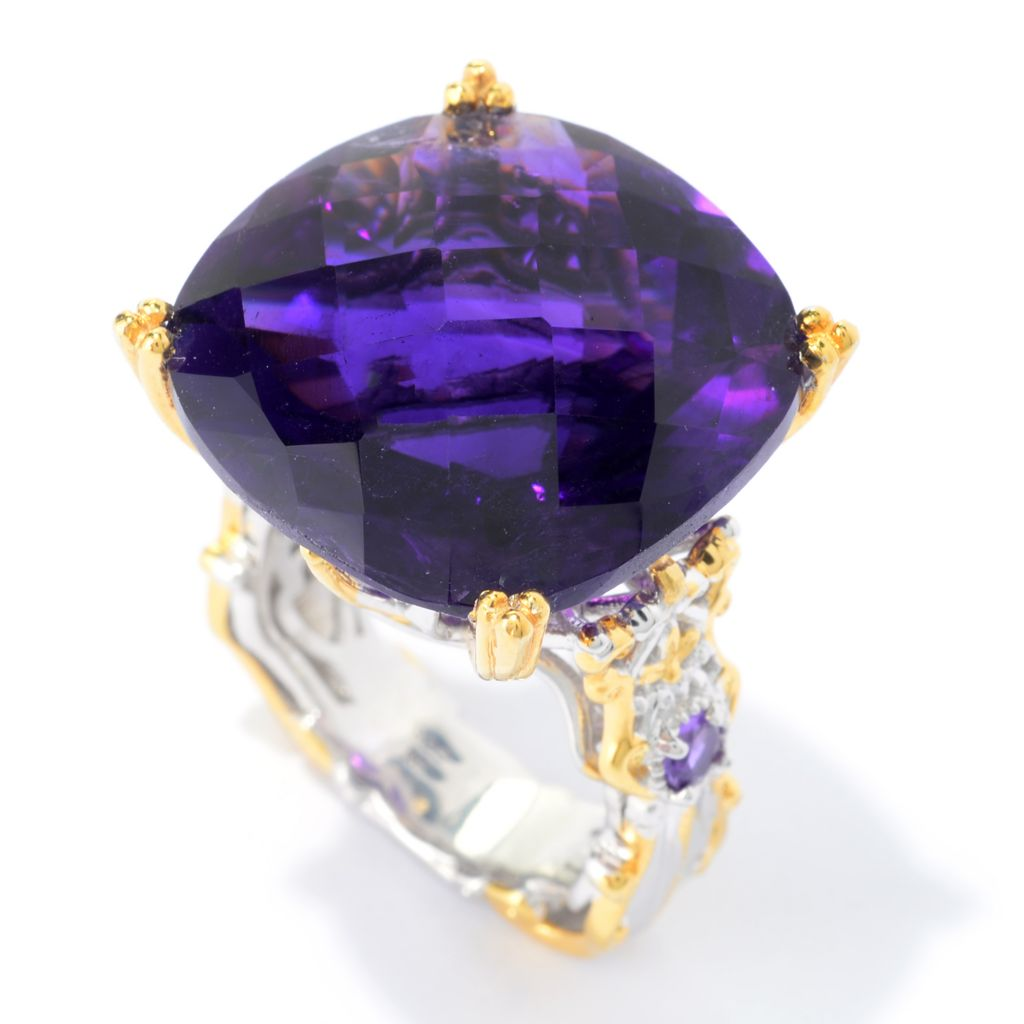 140-314 - Gems en Vogue 28.22ctw Tanzanian Color Shift Amethyst Ring
