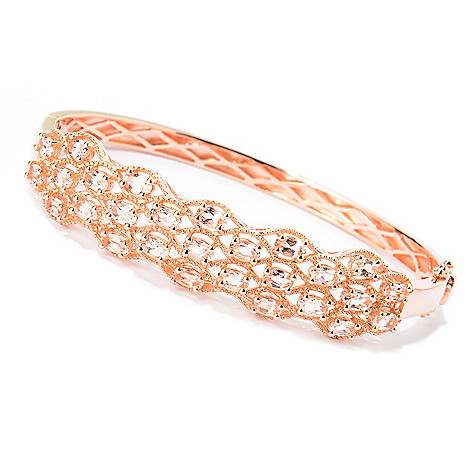 140-315 - NYC II 4.59ctw Oval Morganite Hinged Bangle Bracelet