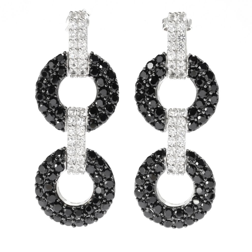 "140-320 - Gem Treasures Sterling Silver 1.75"" Black Spinel & White Topaz Earrings"