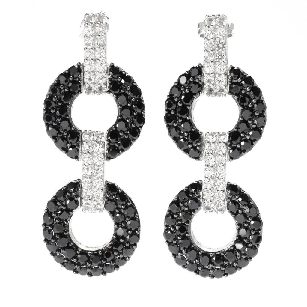 """140-320 - Gem Treasures Sterling Silver 1.75"""" Black Spinel & White Topaz Earrings"""