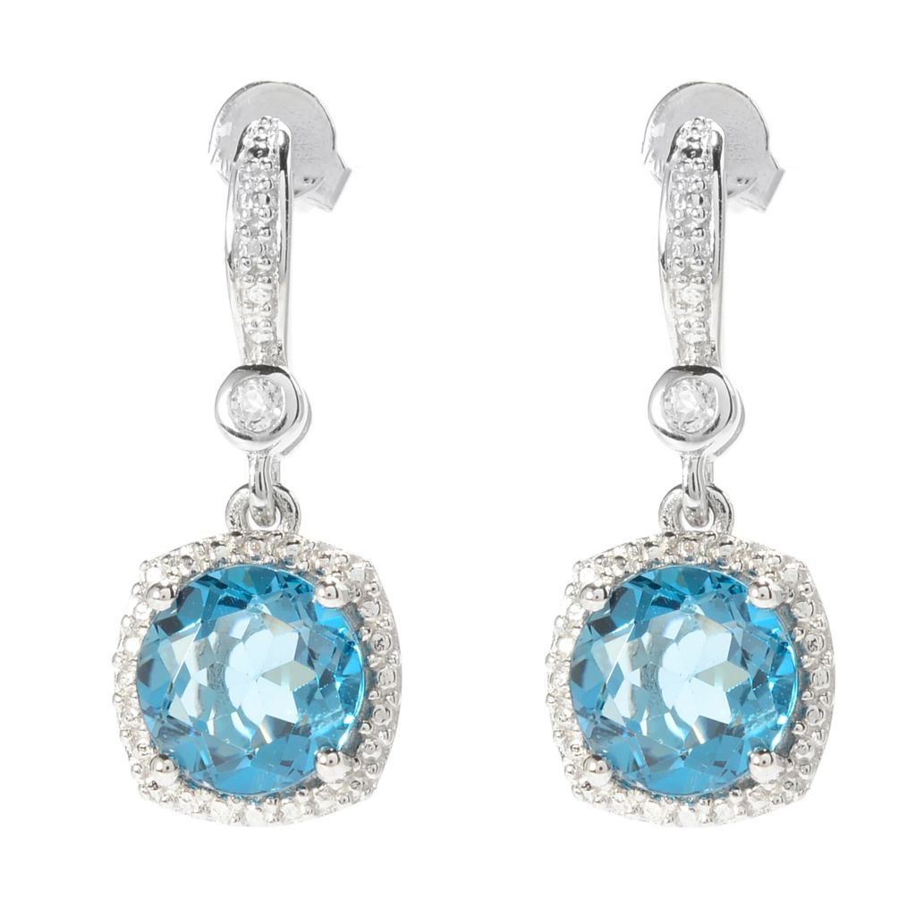 "140-322 - Gem Treasures Sterling Silver 1"" Gemstone & White Topaz Drop Earrings"