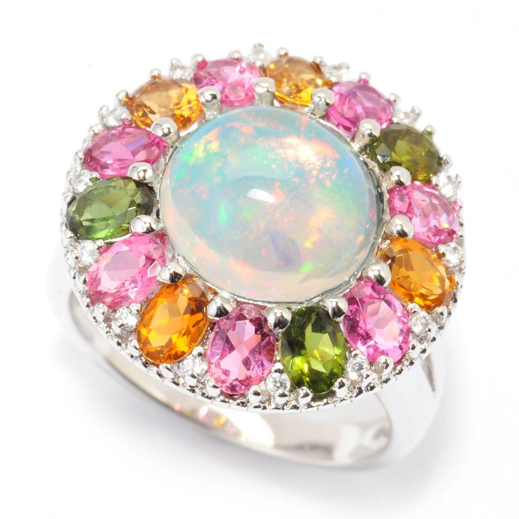 140-326 - Gem Treasures 10mm Ethiopian Opal, Multi Color Tourmaline & White Zircon Ring