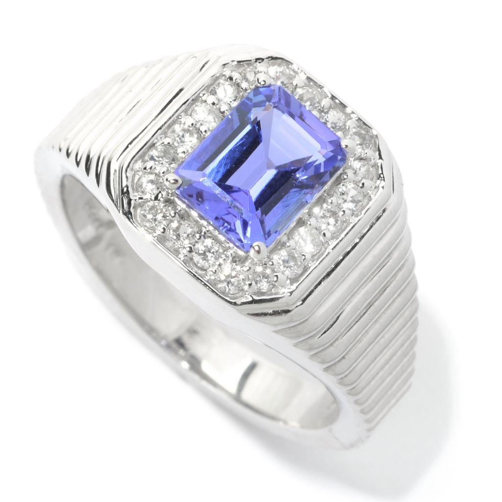 140-327 - Gem Treasures Men's Sterling Silver 1.72ctw Tanzanite & White Zircon Ring