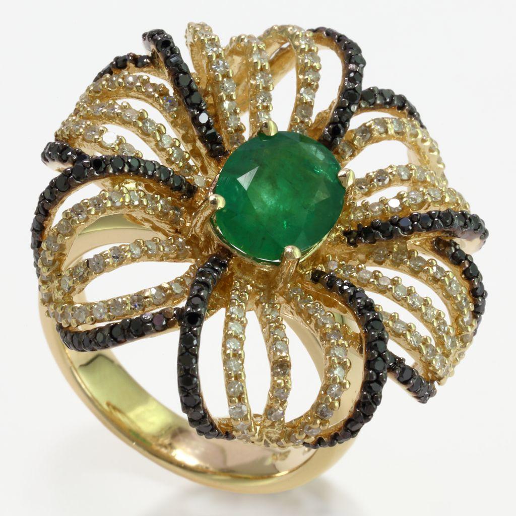 140-330 - Effy 14K Gold 2.87ctw Emerald & Diamond Flower Ring - Size 7