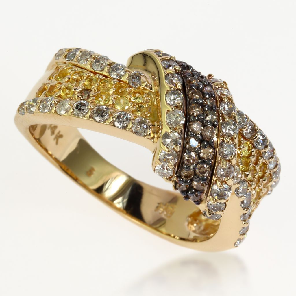 140-331 - Effy 14K Gold 1.22ctw Diamond & Yellow Sapphire Swirl Band Ring - Size 7