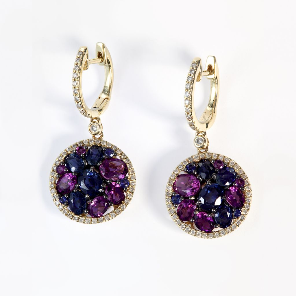 140-337 - Effy 14K Gold 5.37ctw Sapphire, Amethyst & Diamond Drop Earrings