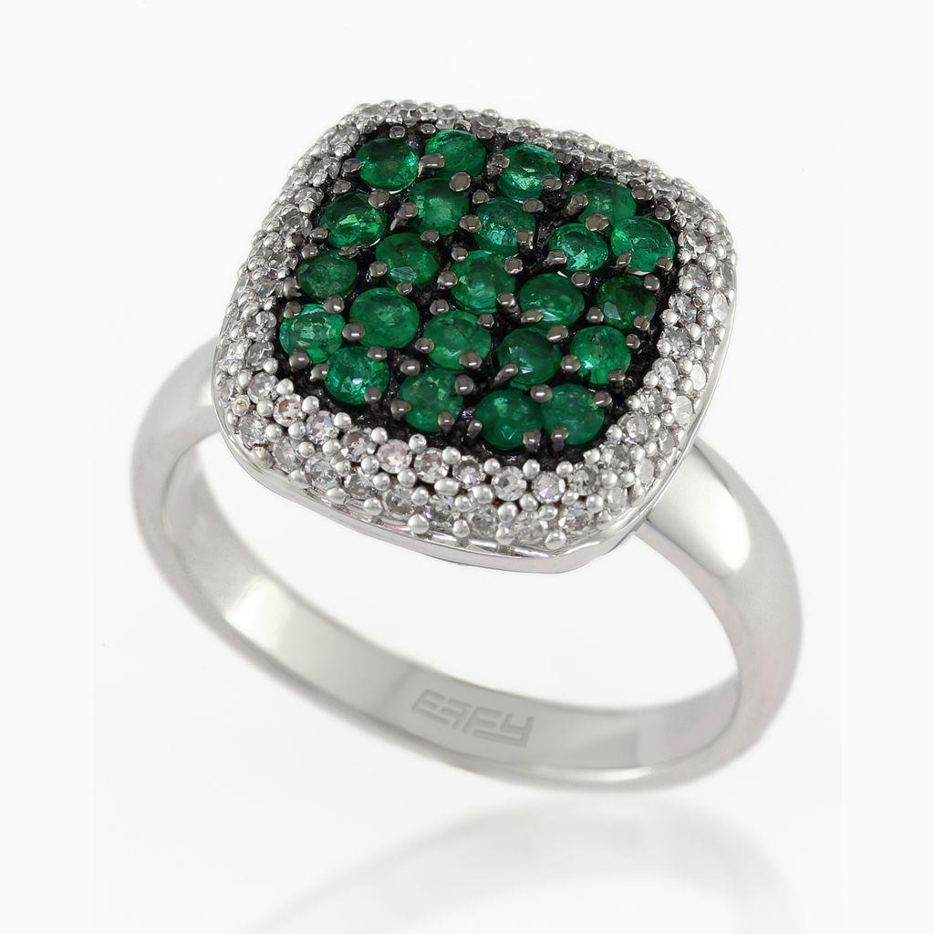 140-338 - Effy 14K White Gold 1.04ctw Emerald & Diamond Ring - Size 7