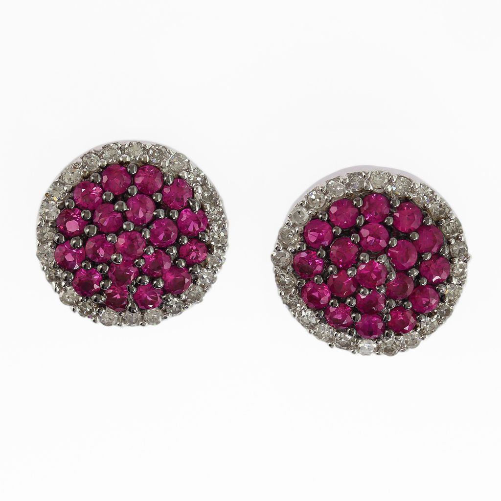 140-341 - Effy 14K White Gold Ruby & Diamond Stud Earrings