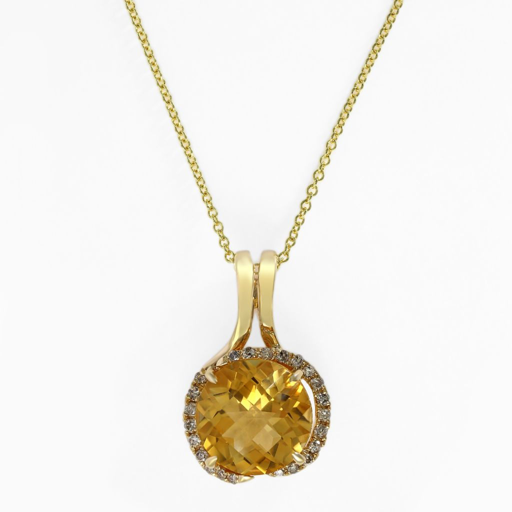 "140-345 - Effy 14K Gold 3.46ctw Citrine & Diamond Pendant w/ 18"" Chain"