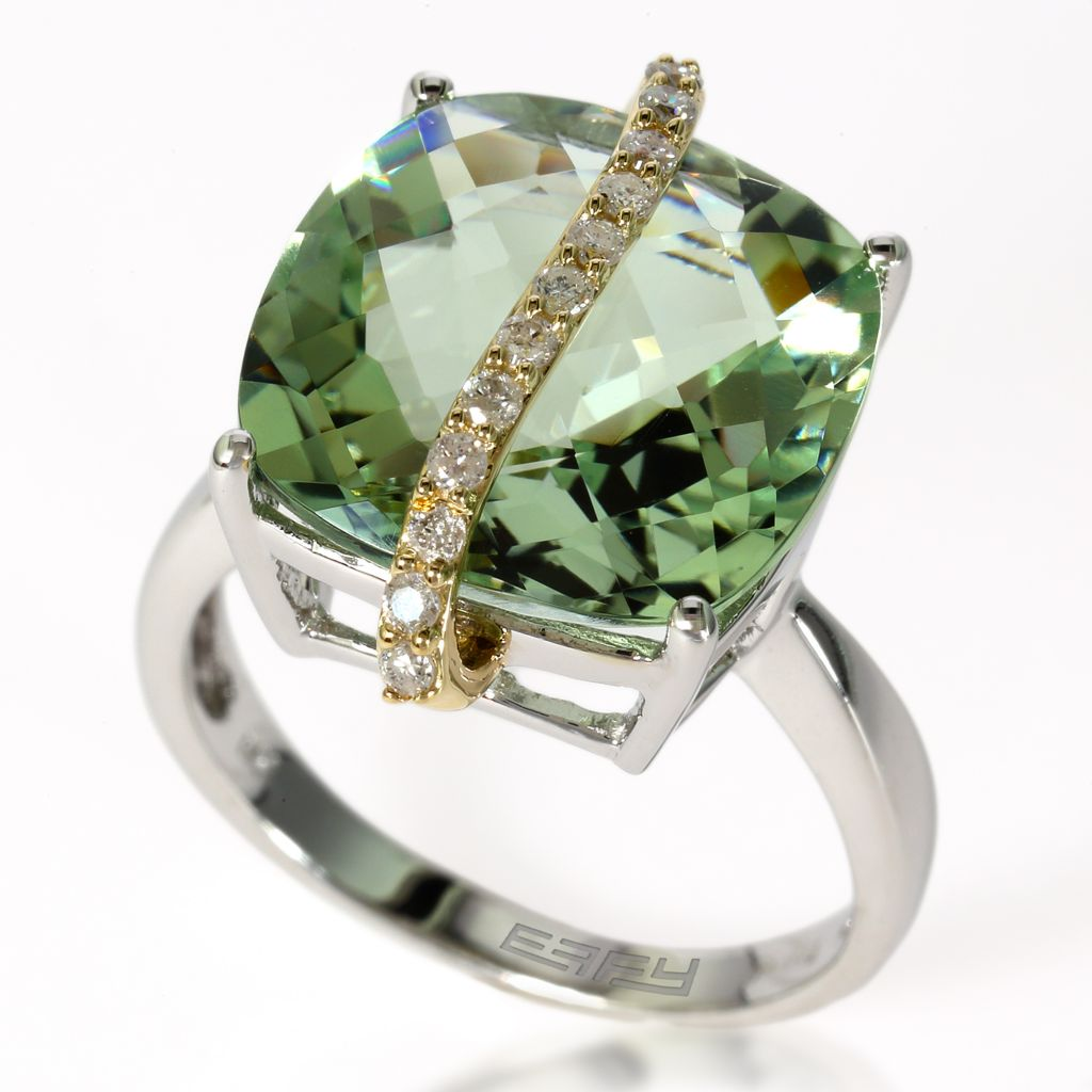 140-346 - Effy 14K White Gold 9.23ctw Prasiolite & Diamond Ring - Size 7